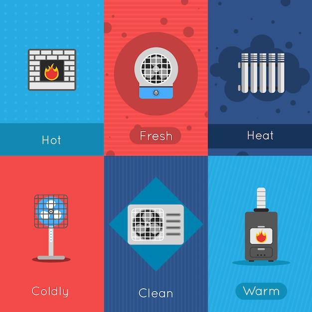 Aquecimento e resfriamento pôster mini conjunto com fresco quente friamente limpar sinais de ar quente isolado ilustração vetorial Vetor grátis