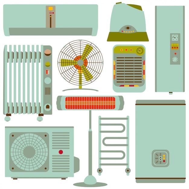 Aquecimento, ventilação e condicionamento conjunto de ícones de silhueta. ilustração Vetor Premium