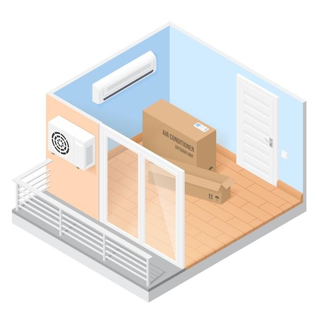 Ar condicionado em uma sala vazia com varanda. ilustração isométrica de casa ou escritório com sistema de condição. conceito de instalar ar condicionado de ventilação em casa ou apartamento Vetor grátis