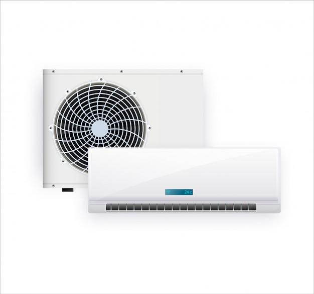 Ar condicionado isolado no branco foto-realista Vetor Premium
