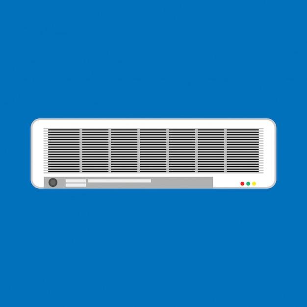 Ar condicionado split climatizado branco. equipamento de ventilação de sistema de aparelho isolado Vetor Premium