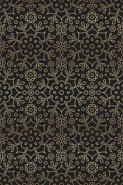 Árabe e indiano padrão sem emenda com ornamento mandala, flor e lótus no gradiente de motivos orientais dourado sobre fundo preto Vetor Premium