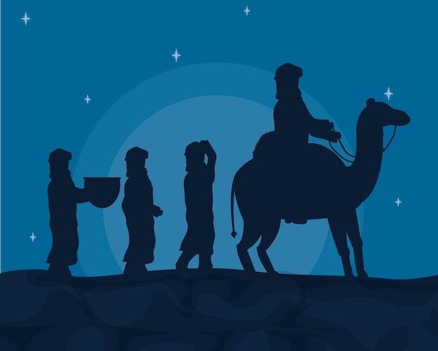 Árabes com camelos Vetor Premium