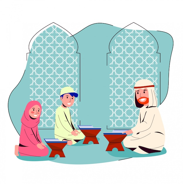 Arabian man teaching quran para crianças pequenas Vetor Premium