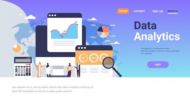 Arábica negócios pessoas gráfico diagrama finanças dados analítica calculadora banner Vetor Premium