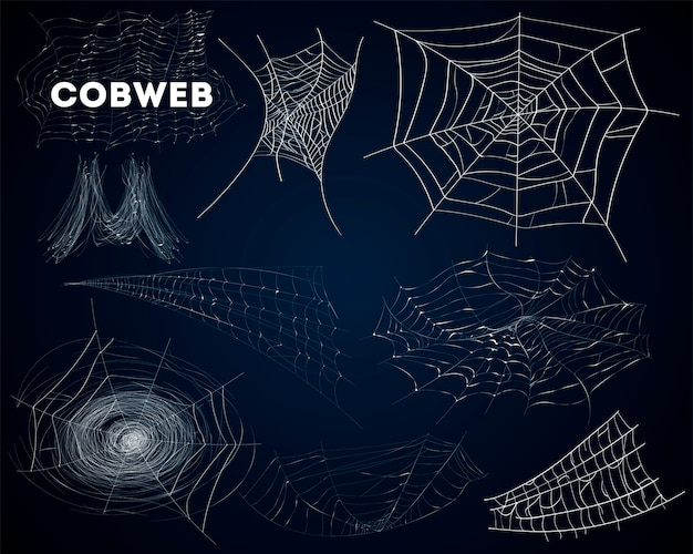 Aranha teias de aranha várias formas isolado conjunto Vetor Premium
