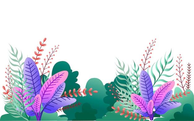 Arbustos verdes e folhas roxas. ilustração de jardim floral. no fundo branco Vetor Premium