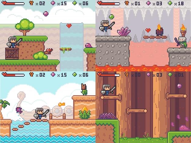 Arcade jogo de aventura em pixel. príncipe espadachim pixelated correndo. cena de jogabilidade de busca de 8 bits Vetor Premium