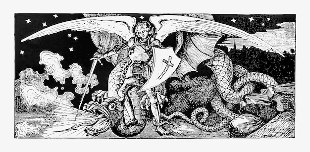 Arcanjo lutando contra um monstro Vetor grátis