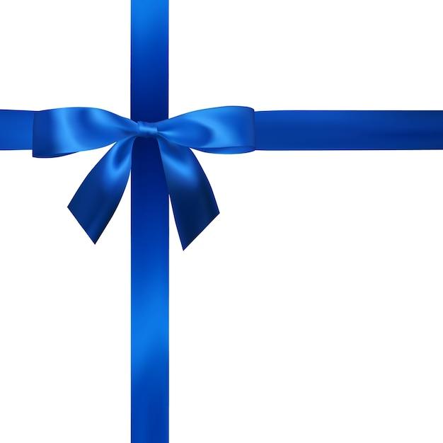 Arco azul realista com fitas azuis isoladas em branco. elemento para presentes de decoração, saudações, feriados. Vetor Premium