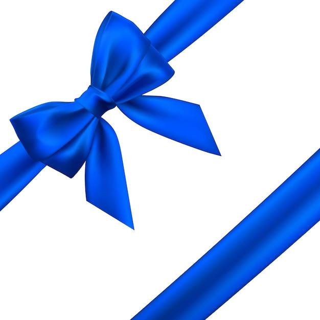 Arco azul realista. elemento para presentes de decoração, saudações, feriados. Vetor Premium