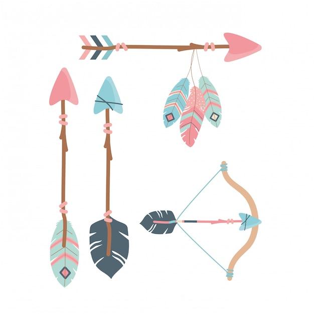 Arco com flechas e penas decoração estilo boho Vetor Premium