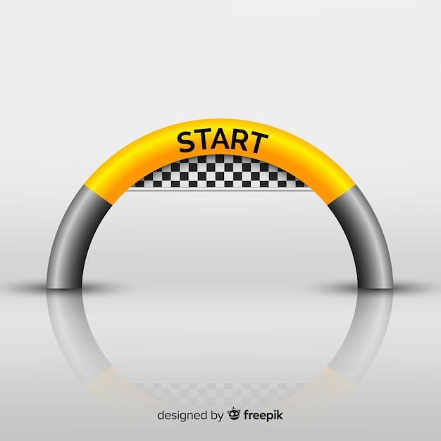 Arco de linha de partida inflável com design realista Vetor grátis