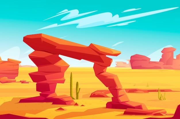 Arco do deserto na ilustração da paisagem natural Vetor grátis