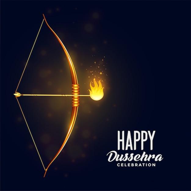 Arco e flecha ardente feliz dussehra festival cartão Vetor grátis
