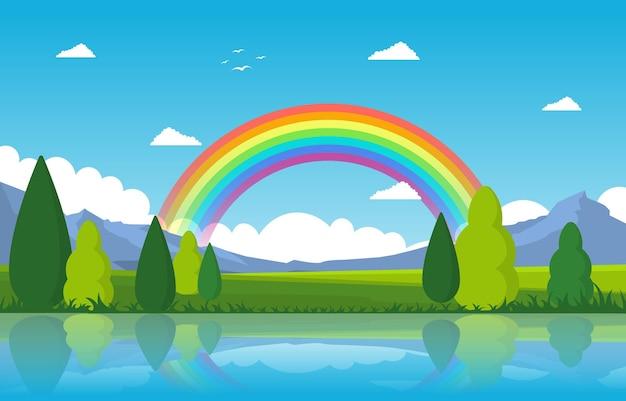Arco-íris acima da lagoa lago natureza paisagem paisagem ilustração Vetor Premium