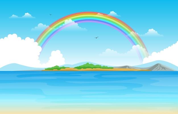 Arco-íris acima do lago mar natureza paisagem paisagem ilustração Vetor Premium