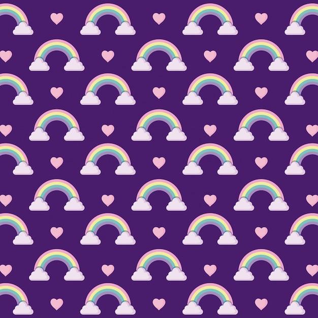 Arco-íris bonito com padrão de coração Vetor Premium
