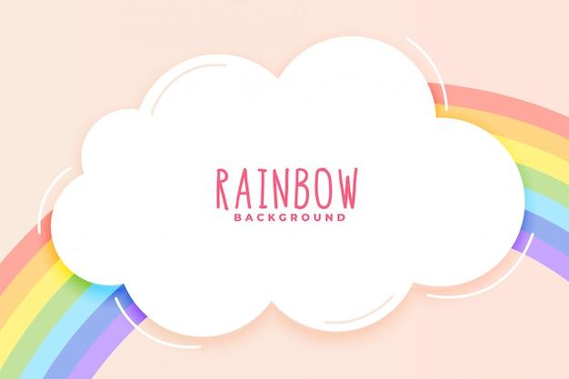 Arco-íris bonito e fundo de nuvem em tons pastel Vetor grátis