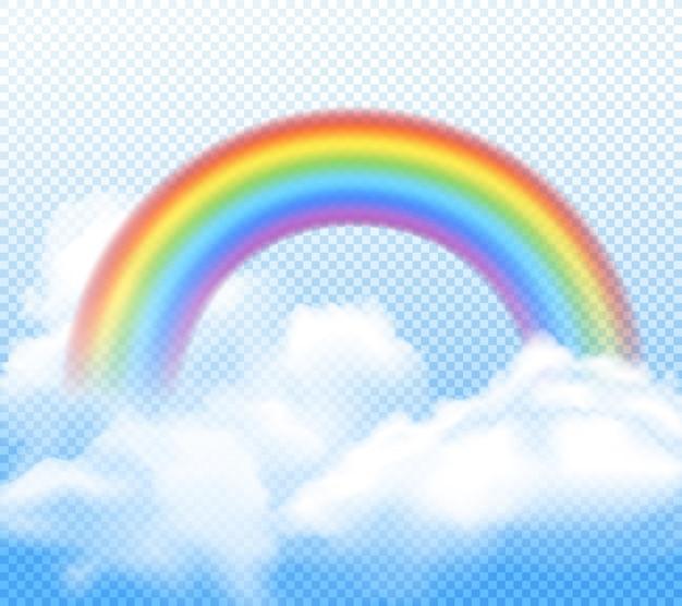 Arco-íris brilhante realista com composição de nuvens fofas brancas na transparente Vetor grátis