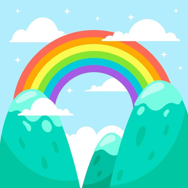 Arco-íris colorido design plano no céu Vetor grátis