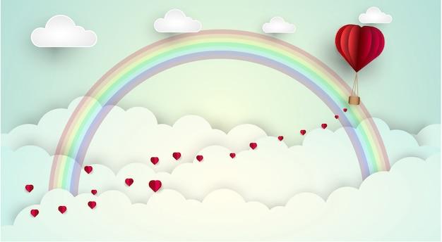 Arco-íris da nuvem do amor do céu. ilustração vetorial Vetor Premium