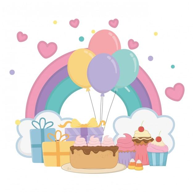 Arco-íris de kawaii e feliz aniversario Vetor Premium