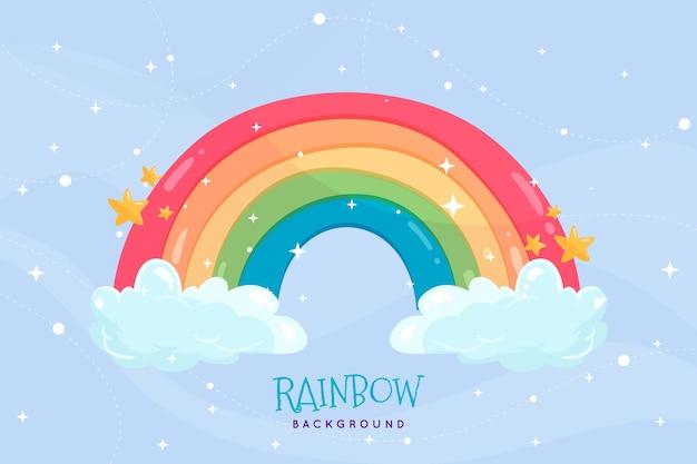Arco-íris desenhado à mão com nuvens Vetor grátis