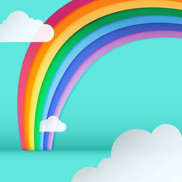 Arco-íris design plano com nuvens Vetor grátis
