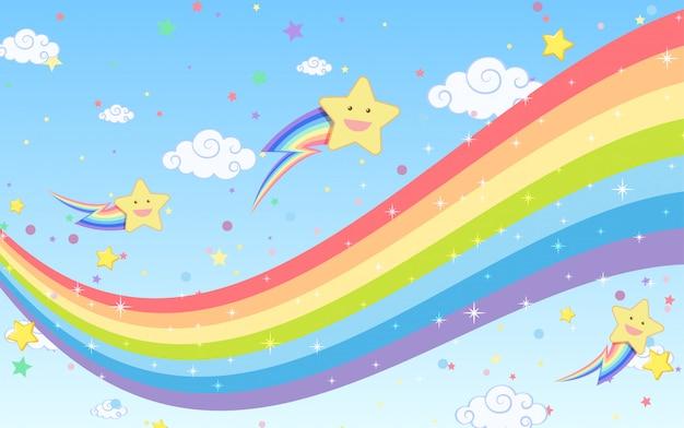 Arco-íris em branco com estrelas sorridentes no fundo do céu azul brilhante Vetor Premium