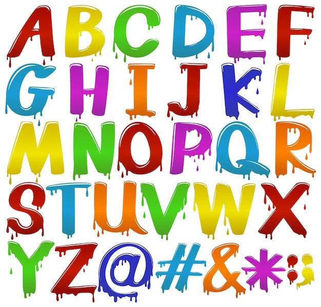 f6cd7741cc Arco-íris grandes letras coloridas do alfabeto sobre um fundo branco ...