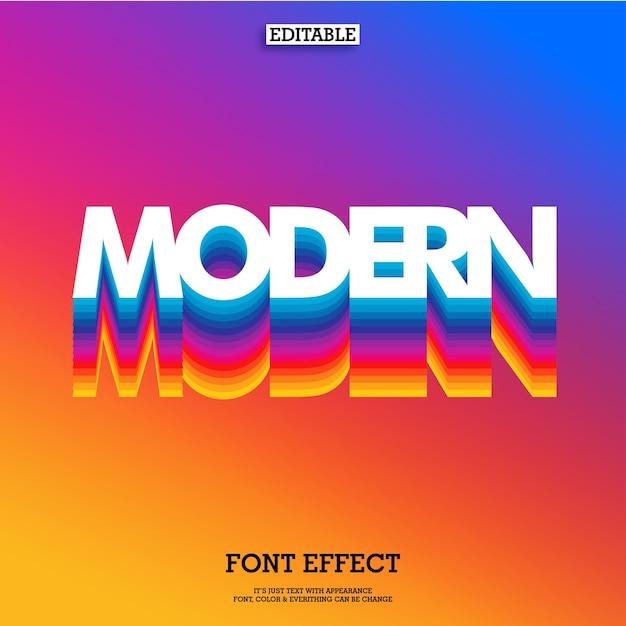 Arco-íris moderno efeito de fonte em camadas e fundo gradiente Vetor Premium