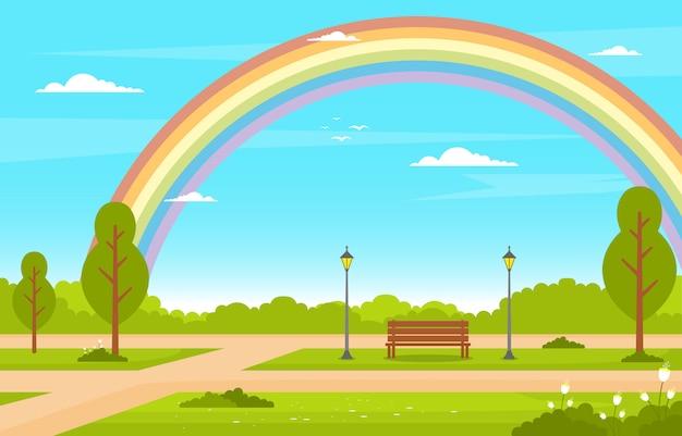 Arco íris verão verde natureza campo terra céu paisagem ilustração Vetor Premium