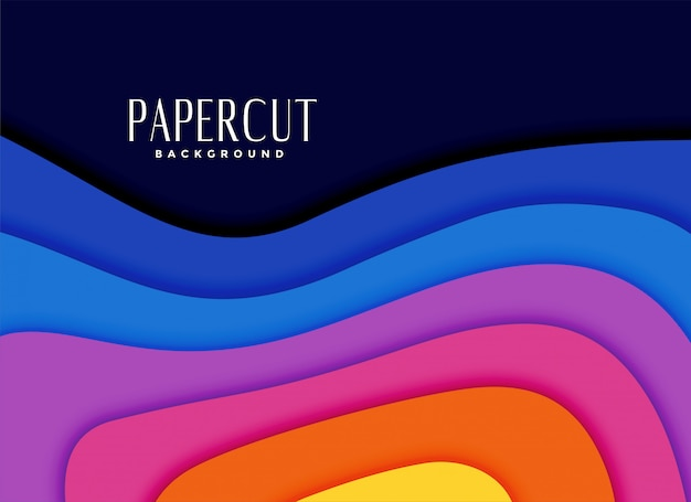 Arco-íris vibrante cores papercut fundo Vetor grátis