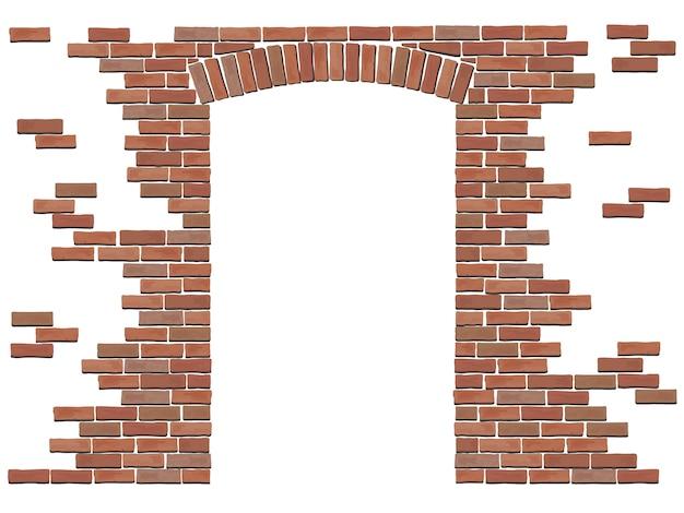 Arco na parede de tijolo vermelho. Vetor Premium