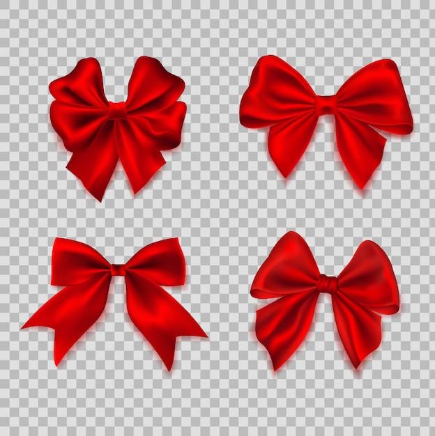 Arco realista. fitas para laço de cabelo de decoração. conjunto de forma diferente seda vermelha arcos presente elemento decorativo Vetor Premium