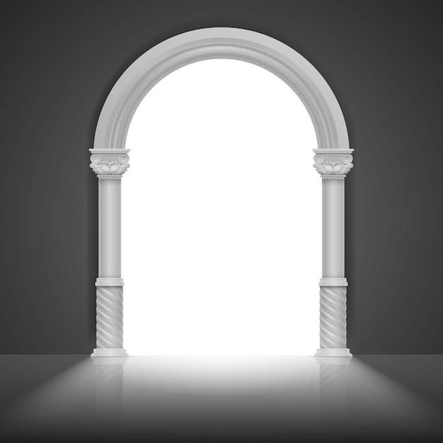 Arco romano com coluna antiga. design de moldura de título de vetor. quadro de arco de arquitetura, ilustração de quadro grego antigo pedra Vetor Premium
