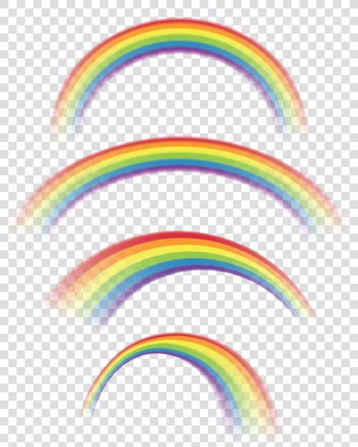 Arcos-íris transparentes em formas diferentes Vetor Premium