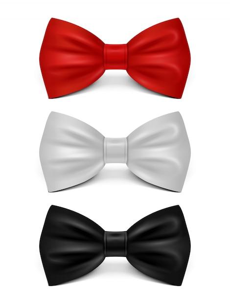 Arcos realistas isolados - conjunto de gravata clássica Vetor Premium