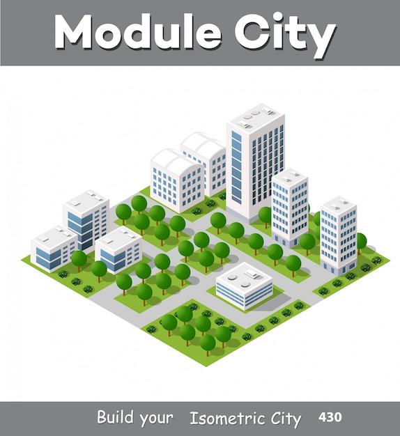 Área de módulo isométrico no centro da cidade Vetor Premium