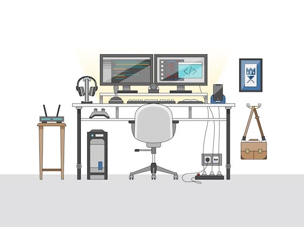 Área de trabalho de um engenheiro de áudio ou produtor musical Vetor grátis