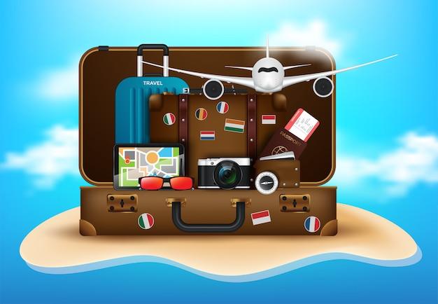 Área de trabalho do viajante com mala, câmera, bilhete de avião, passaporte, bússola e binóculos, viagens e férias conceito Vetor Premium