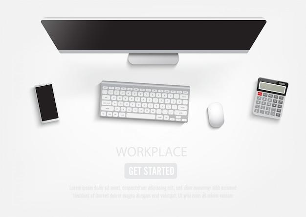 Área de trabalho realista no local de trabalho. Vetor Premium