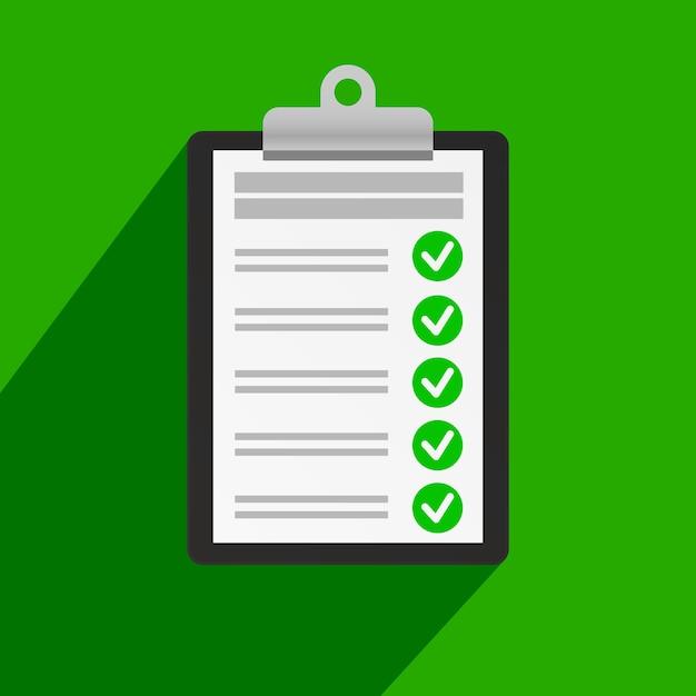 Área de transferência com lista de verificação Vetor Premium