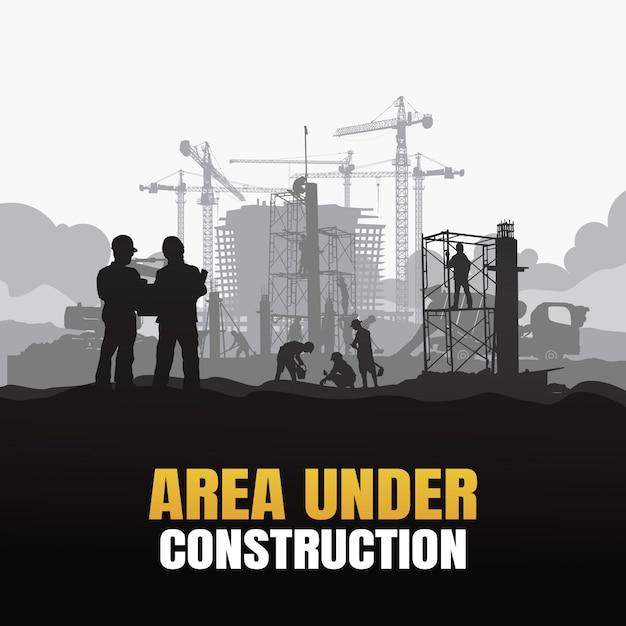 Área em plano de construção Vetor Premium