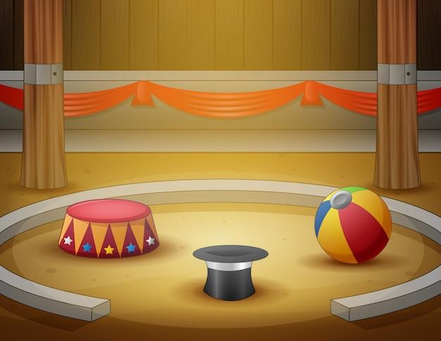 Área interna da arena do circo dos desenhos animados Vetor Premium