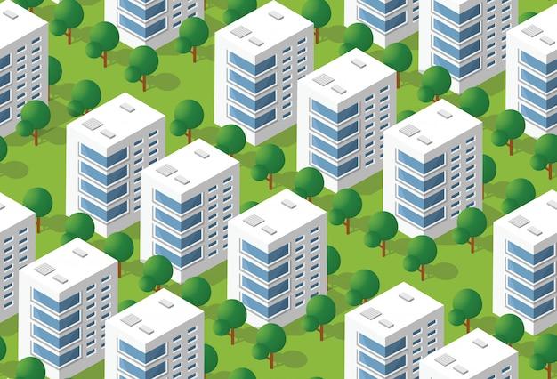 Área isométrica urbana Vetor Premium