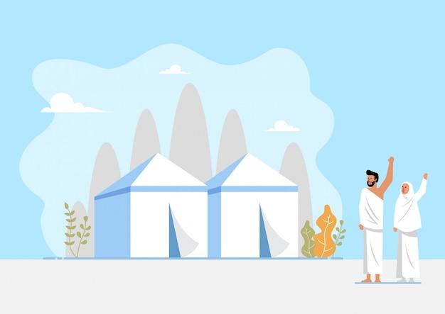 Área muçulmana de peregrinação e tendas Vetor Premium