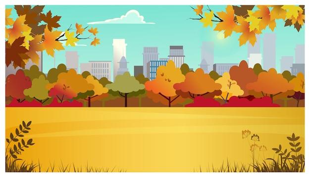 Área suburbana com prado, árvores de outono e edifícios da cidade Vetor grátis