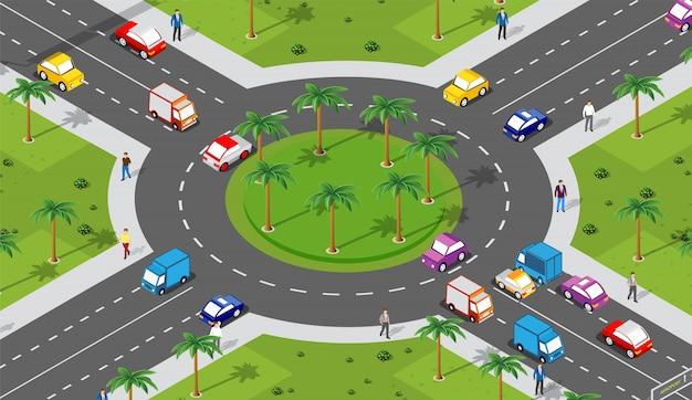 Área urbana com interseção Vetor Premium